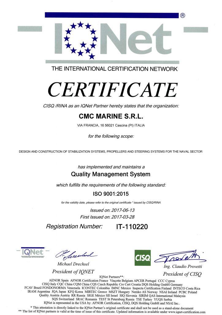 Certificato IQNet CMC Via Francia